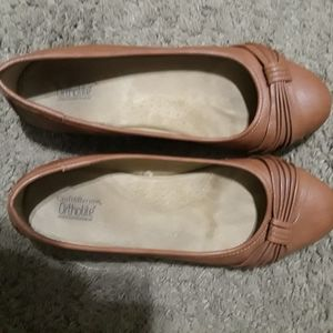 Brown flats, worn twice